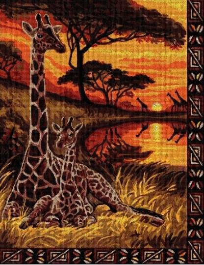 JIRAFAS: Gráfico de punto de cruz para descargar en PDF y bordar jirafas africanas