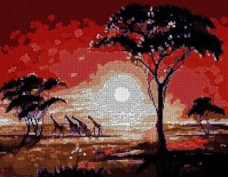 Gráfico de punto de cruz para descargar en PDF, imprimir y bordar paisaje africano al anochecer