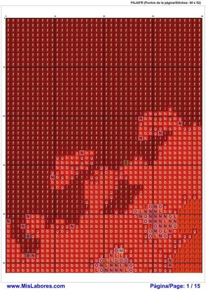 Página del gráfico de punto de cruz a punto contado PAJAFR