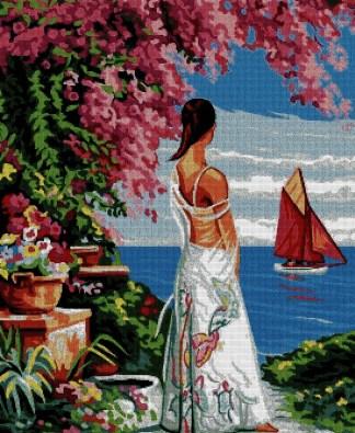 PERMAR: Gráfico de punto de cruz para descargar en PDF, imprimir y bordar escena de mujer mirando al mar