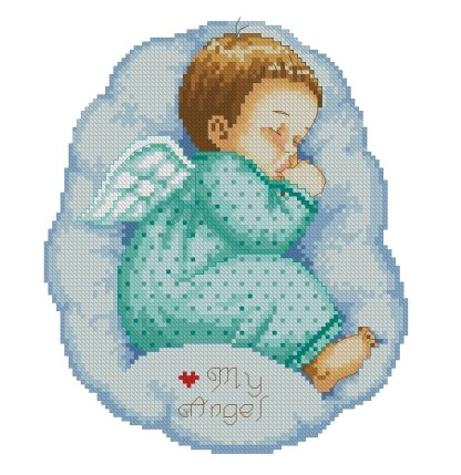 BBANGEL-1: Gráfico de punto de cruz para descargar en PDF, imprimir y bordar bebé angel dormido