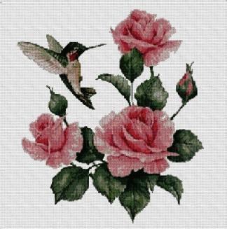 FLCOL: Gráfico de punto de cruz para descargar en PDF, imprimir y bordar dibujo de colibrí con rosas