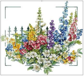 FLORES-1: Gráfico de punto de cruz para descargar GRATIS en PDF junto a FLHON y FLORES-2, imprimir y bordar flores silvestres de varios colores