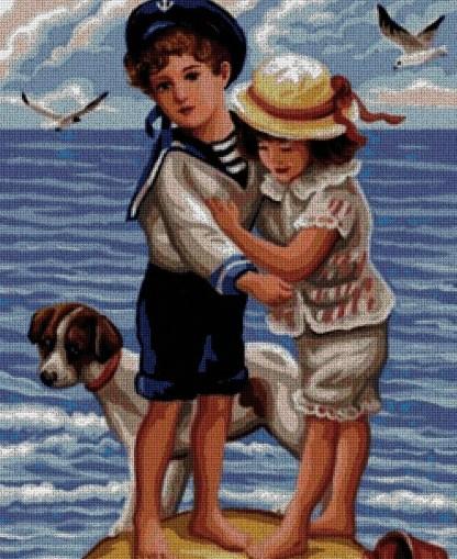 INFPLA: Gráfico de punto de cruz para descargar en PDF, imprimir y bordar dibujo de niños con perro en la playa