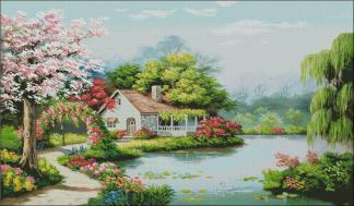 PAJAFLOR-2: bordado a punto de cruz de casa y jardín florido