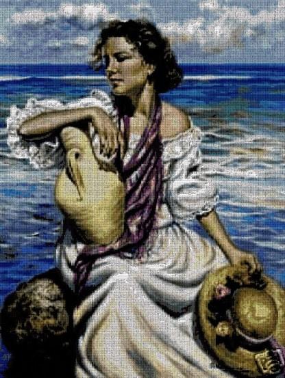 PERPLA: Gráfico de punto de cruz para descargar en PDF, imprimir y bordar mujer en la playa