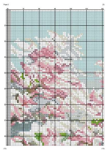 Página del gráfico de punto de cruz PAJAFLOR-2