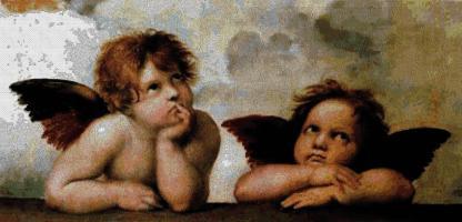 ANGRAF: Gráfico de punto de cruz para descargar en PDF, imprimir y bordar dibujo de los ángeles de Rafael
