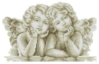 ANGTWO-3: Gráfico de punto de cruz para descargar GRATIS en PDF al comprar ANGRAF, imprimir y bordar dibujo de dos ángeles