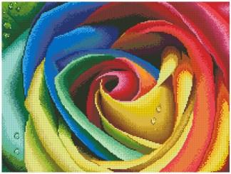 COLOROSE: Gráfico de punto de cruz para descargar en PDF, imprimir y bordar dibujo de rosa en varios colores