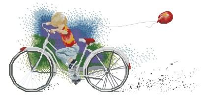 INFBIC-1: Gráfico de punto de cruz para descargar en PDF, imprimir y bordar dibujo de niño montando en bici