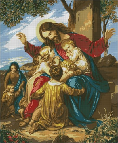 JESUSYN: Gráfico de punto de cruz para descargar en PDF, imprimir y bordar dibujo de Jesús Cristo rodeado de niños