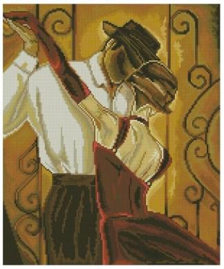 PERDANZA-1: Gráfico de punto de cruz para descargar GRATIS en PDF al comprar ROTAN-2, imprimir y bordar dibujo de pareja bailando tango