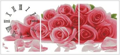 ROSES-1: Gráfico de punto de cruz para descargar en PDF, imprimir y bordar tríptico de rosas con reloj