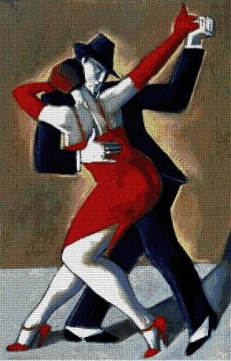 ROTAN-2: Gráfico de punto de cruz para descargar en PDF, imprimir y bordar dibujo de pareja bailando tango