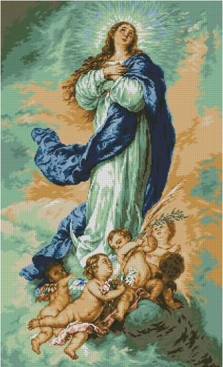 VIRGEN-1: Gráfico de punto de cruz para descargar GRATIS en PDF al comprar ARMUR-1, imprimir y bordar la Virgen Inmaculada