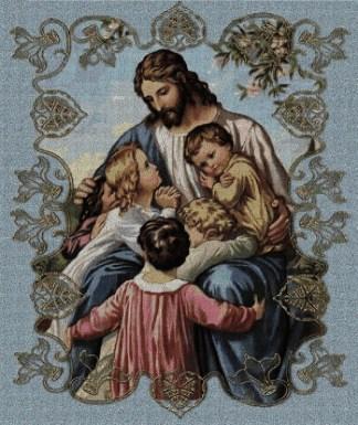 RELIJYNS: Gráfico de punto de cruz para descargar en PDF, imprimir y bordar dibujo de Jesús Cristo rodeado de niños