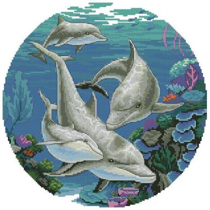ANIDELFIN-1: Gráfico de punto de cruz para descargar en PDF, imprimir y bordar dibujo de delfines bajo el mar