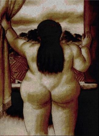 """BOTERO-DAL: Gráfico de punto de cruz para descargar en PDF, imprimir y bordar cuadro de Botero """"Mujer en la ventana"""""""