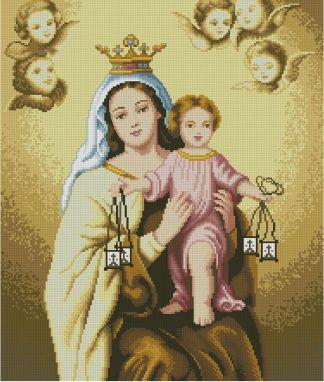 VCARMEN: bordado a punto de cruz de la Virgen del Carmen con el Niño Jesús