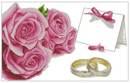 WEDDING-1: Gráfico de punto de cruz para descargar en PDF, imprimir y bordar recuerdo de boda
