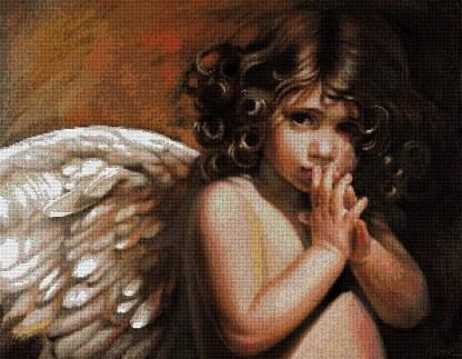 ANGRIZ: Gráfico de punto de cruz para descargar en PDF, imprimir y bordar angelito moreno de pelo rizado