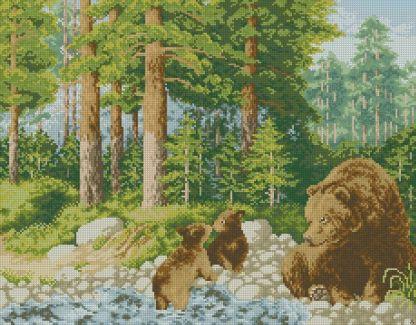 BEARS-1: Gráfico de punto de cruz para descargar en PDF, imprimir y bordar dibujo de osos en el bosque