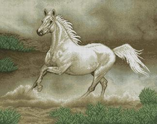 HORSES-2: Gráfico de punto de cruz para descargar en PDF, imprimir y bordar dibujo de caballo blanco al galope