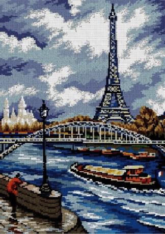 PARIS: Gráfico de punto de cruz para descargar en PDF, imprimir y bordar paisaje de París con torre Eiffel y rio Sena