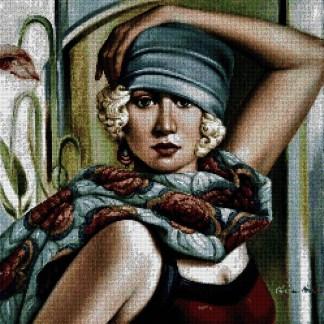 """ABELCAT-1: Gráfico de punto de cruz para descargar en PDF, imprimir y bordar dibujo basado en el cuadro de Catherine Abel """"dama con sombrero"""""""
