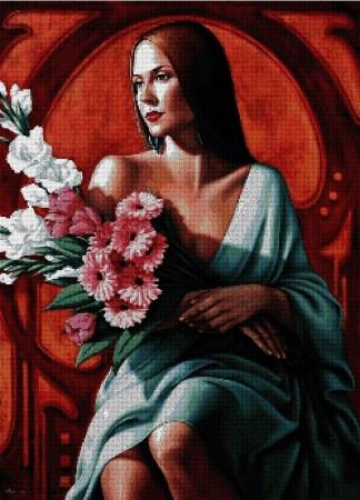 """ABELCAT-3: Gráfico de punto de cruz para descargar en PDF, imprimir y bordar dibujo basado en el cuadro de Catherine Abel """"mujer con flores"""""""