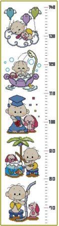 MEDIDOR-1: Gráfico de punto de cruz para descargar en PDF, imprimir y bordar medidor de estatura infantil.