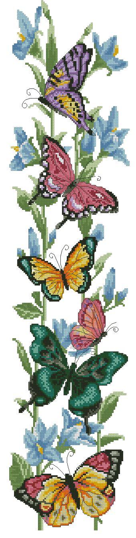 INSECT-2: Gráfico de punto de cruz para descargar en PDF, imprimir y bordar dibujo de mariposas y flores azules