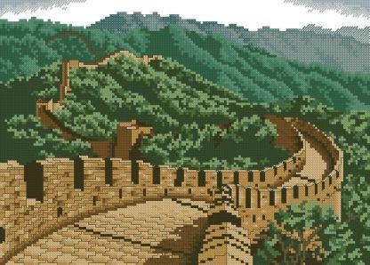 PAJCHINA-1: Gráfico de punto de cruz para descargar en PDF, imprimir y bordar paisaje con La Gran Muralla China como principal motivo.