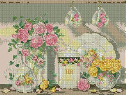 """TEAROSES: Gráfico de punto de cruz para descargar en PDF, imprimir y bordar dibujo basado en la ilustración """"Victorian tea"""" de Sandy Lynam Clough"""