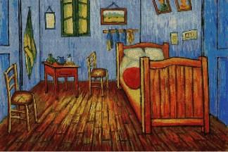 """ARVANG-1: Gráfico de punto de cruz para descargar en PDF, imprimir y bordar dibujo basado en el cuadro de Van Gogh """"El dormitorio en Arlés"""""""