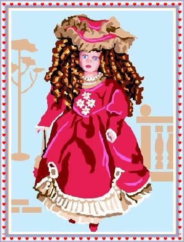 BELINDA-6758: Tela panamá con dibujo impreso de muñeca de porcelana Belinda, para bordar a punto de cruz