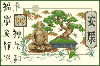 BUDA-1: Gráfico de punto de cruz para descargar en PDF, imprimir y bordar dibujo de Buda y bonsai