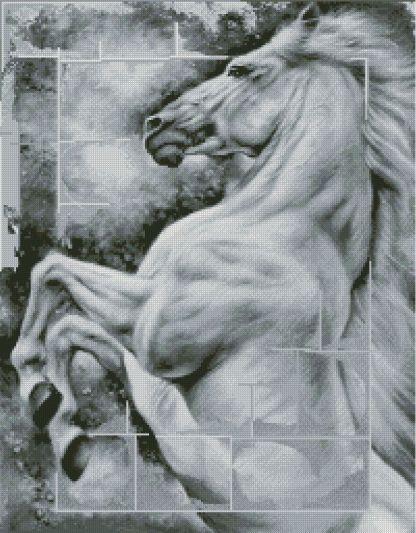HORSES-3: Gráfico de punto de cruz para descargar en PDF, imprimir y bordar dibujo estilizado de caballo blanco