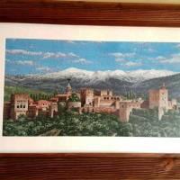 VENTA DE BORDADO A PUNTO DE CRUZ con paisaje de la Alhambra de Granada con Sierra Nevada al fondo