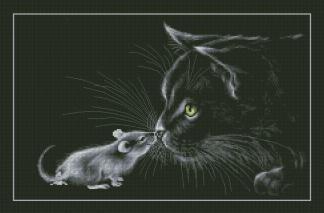 CATS-3: bordado a punto de cruz de gato y ratón sobre fondo negro