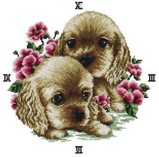 COCKER-1: Gráfico de punto de cruz para descargar en PDF, imprimir y bordar reloj con dibujo de dos cachorros de perro cocker spaniel