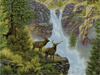 DEER-1: Gráfico de punto de cruz para descargar en PDF, imprimir y bordar paisaje de bosque con ciervos en cascada