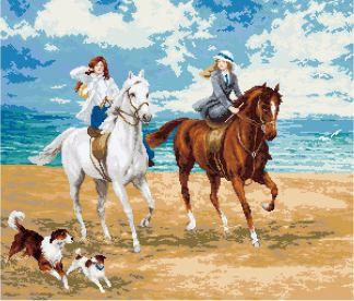 ESCAB-1: Gráfico de punto de cruz para descargar en PDF, imprimir y bordar escena de mujeres paseando por la playa a caballo