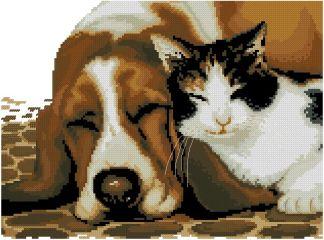 PETS-1: Gráfico de punto de cruz para descargar en PDF, imprimir y bordar dibujo de perro y gato durmiendo juntos