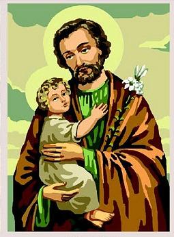 SAN-JOSE: Tela panamá con dibujo impreso de San José y el Niño Jesús, para bordar a punto de cruz