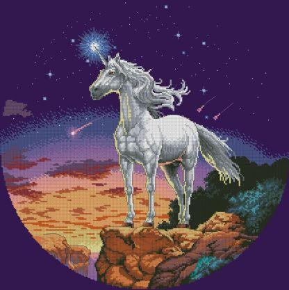 UNICORN-2: Gráfico de punto de cruz para descargar en PDF, imprimir y bordar dibujo con unicornio frente a cielo estrellado