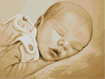 BBSLEEP-2: Gráfico de punto de cruz para descargar en PDF, imprimir y bordar dibujo de bebé dormido