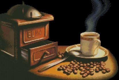 COFFEE-1: Gráfico de punto de cruz para descargar en PDF, imprimir y bordar dibujo con molinillo, taza y granos de café