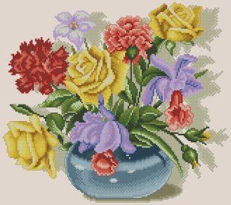 FLVASE-4: Gráfico de punto de cruz para descargar en PDF, imprimir y bordar dibujo de jarrón con flores